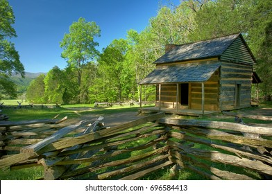 John Oliver's Cabin Cades Cove in Great Smoky Mountains National Park, Tennessee, USA.  It is the most visited USA National Park for the scenic beauty of the mountains.
