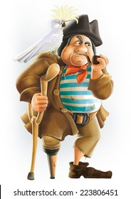 John Silver pirate cartoon character Treasure Island