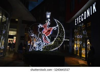 Johnnesburg , South Africa - Nov 24 2018: Christmas lighting in Melrose arch in Johannesburg