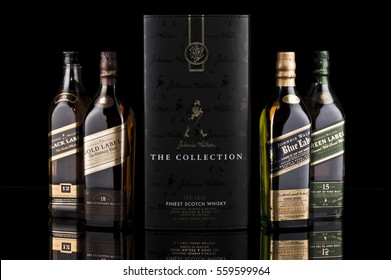 johnnie walker the collection, isolated on black background.Illustrative Editorial