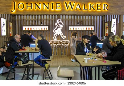 Johnnie Walker logo of whisky house in Kiev, Ukraine, 02 February 2019.