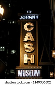 Johnny Cash Museum, lighted sign, Historic Downtown Broadway, Nashville Tennessee, May 17, 2018