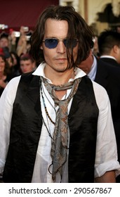 "Johnny Depp attends the World Premiere of ""Pirates of the Caribbean: At World's End"" held at Disneyland in Anaheim, California on May 19, 2007."