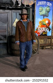 """Johnny Depp at the Los Angeles Premiere of """"Rango"""" held at the Regency Village Theater in Los Angeles in Los Angeles, California, United States on February 14, 2011."""