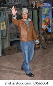 """Johnny Depp at the Los Angeles premiere of his new animated movie """"Rango"""" at the Regency Village Theatre, Westwood. February 14, 2011  Los Angeles, CA Picture: Paul Smith / Featureflash"""