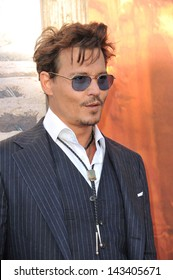 """Johnny Depp at the world premiere of his new movie """"The Lone Ranger"""" at Disney California Adventure. June 22, 2013  Anaheim, CA"""