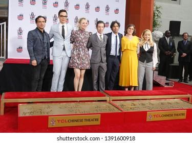 Johnny Galecki, Jim Parsons, Kaley Cuoco, Simon Helberg, Kunal Nayyar, Mayim Bialik and Melissa Rauch at the handprints ceremony for 'The Big Bang Theory' held at the TCL Chinese Theatre IMAX in LA.
