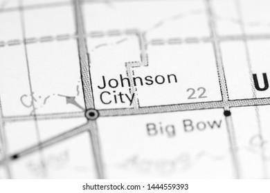 Johnson City. Kansas. USA on a map