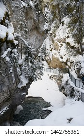Johnston Canyon in Banff with Snow in Winter