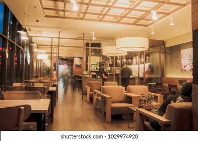 JOHOR BAHARU, MALAYSIA - FEBRUARY 18, 2018: Starbucks Cafe interior. Starbucks Corporation is an American global coffee company and coffeehouse chain based in Seattle, Washington at Puteri Habour Mall