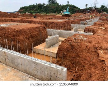 Johor Bahru - 4 June 2018 : Ground beam as a foundation of house or building at construction site.