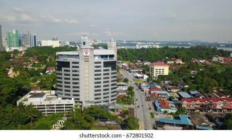 JOHOR BAHRU,- 7 July 2017: Ariel view of Tenaga Nasional Berhad (TNB) building in Jalan Yahya Awal,  Johor Bahru,  Malaysia. TNB is a utility company that supply energy troughout west Malaysia.