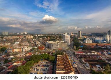 Johor Bahru, MALAYSIA - 10 NOV 2018 : Amazing cityscape with top view of Johor Bahru, beautiful cityscape wallpaper