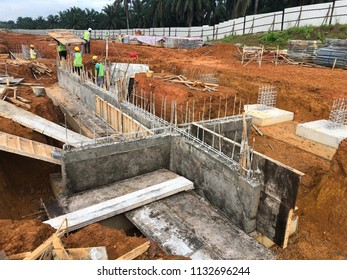 Johor Bahru, Malaysia - 12 July 2018 : Site construction was built ground beam as foundation for houses or building.
