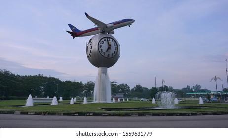 Johor Bahru, Johor / Malaysia - 24 Okt, 2019: A airplane statue located just outside of Senai Airport located in Johor, Malaysia