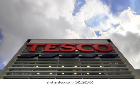 JOHOR BAHRU, MALAYSIA- 25 MAY, 2019: Logo of Tesco supermarket  in Johor, Malaysia. Tesco is the largest grocery stores chain in UK.