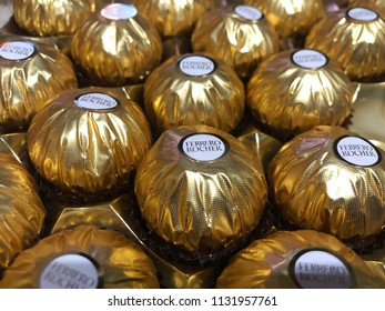 Johor Bahru, Malaysia - 9 July 2018 : New packaging for Ferrero Rocher chocolate and taste very delicious.