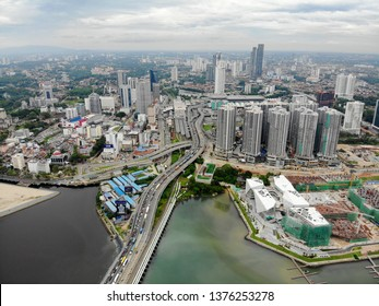 Johor Bahru, Malaysia - April 20 2019 : Ariel View of multiple place in in Johor Baru City, southern part of Malaysia day and night