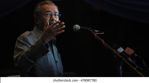 JOHOR BAHRU, MALAYSIA - APRIL 7, 2013: Former Prime Minister of Malaysia Tun Dr Mahathir Mohamad gave a talk in conjunction with 13th General Election campaign.