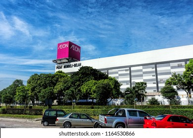 JOHOR BAHRU, JOHOR, MALAYSIA - AUG 25, 2018: Day view of AEON Mall Tebrau City (Jusco Tebrau City) in Johor Bahru City, Johor, Malaysia. AEON Retail Stores is one of the largest retailers in Asia.