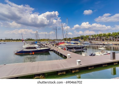 JOHOR BAHRU, MALAYSIA -AUG 3rd, 2017 :Puteri Harbour, Johor, Malaysia. Puteri Harbour is a marina development that spans 687 acres  on the Straits of Johor.