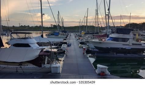 JOHOR BAHRU, MALAYSIA - DEC 2ND, 2016 : Sunrise at Puteri Harbour, Johor, Malaysia. Puteri Harbour is a marina development that spans 687 acres (2.8 km²) on the Straits of Johor.
