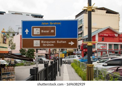 Johor Bahru, Malaysia - Feb 14th, 2020 -  Street sign showing directions to Bazar JB (market) and directions to Bangunan Sultan Ibrahim (mosque) in the city center.