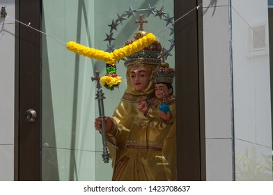 Johor Bahru, Johor, Malaysia - Feb 28th, 2015 - Statue outside of Church of the Immaculate Conception. The oldest of Church of Johor Bahru and it is Roman Catholic.