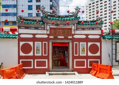 "Johor Bahru, Johor, Malaysia - Feb 28th, 2015 - Entrance of the Old Chinese Temple Of Johor Bahru. Translation of non-English text ""Johor-Tempel""."