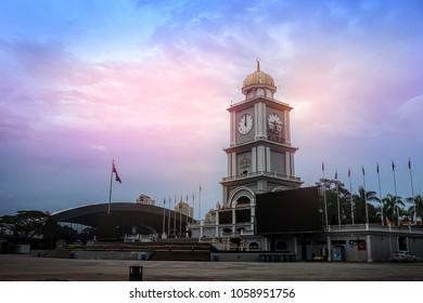 JOHOR BAHRU, JOHOR, MALAYSIA - JANUARY 7, 2018: Day view of City Square Clock Tower in Johor Bahru City, Johor, Malaysia.