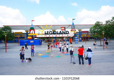 Johor Bahru / Malaysia - January 8 , 2016 : the entrance of Legoland Theme park resort with many people