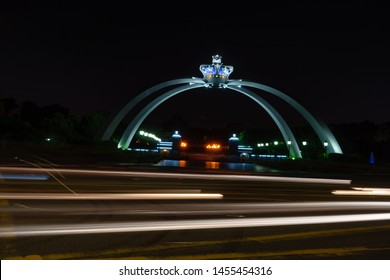 JOHOR BAHRU, MALAYSIA: JULY 17, 2019: Istana Bukit Serene is the royal palace and official residence of the Sultan of Johor, located in Johor Bahru, Malaysia. The crown arch complements the palace