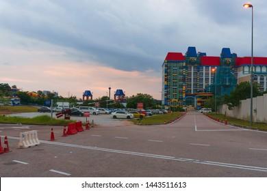 JOHOR BAHRU, MALAYSIA - June 1ST, 2016 : Renovation of Legoland Malaysia main entrance and Legoland hotel. Legoland Malaysia is the first Legoland theme park in Asia and sixth in the world