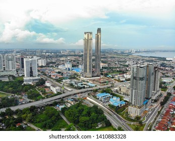 Johor Bahru, Malaysia - March 23,2018 : Aerial view of Astaka in Johor Bahru, Malaysia