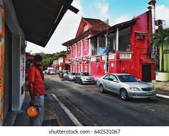 Johor Bahru, Malaysia. May 17, 2017: A view of well painted known as Red House in the center of business district of Johor Bahru. The Red House serves as a venue for arts and cultural events.
