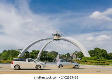 Johor Bahru, Malaysia - May 18,2019 : Beautiful iconic johor landmark and new tourist attraction, Sultan of Johor, Sultan Ibrahim ,  Palace entrance.