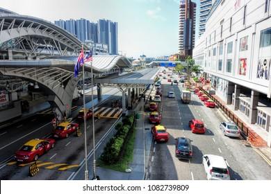 JOHOR BAHRU, JOHOR, MALAYSIA - MAY 2, 2018: Street view of Johor Bahru City, Johor, Malaysia.