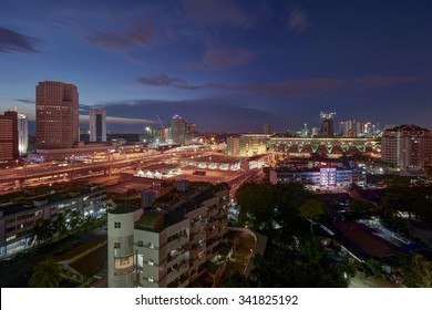 JOHOR BAHRU, MALAYSIA - NOVEMBER 18, 2015 : Johor Bahru city view from top during dusk.