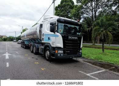 JOHOR BAHRU, JOHOR, MALAYSIA - OCTOBER 14, 2018: View of Scania G410 long-haulage truck along the roadside in Johor Bahru City, Johor, Malaysia.