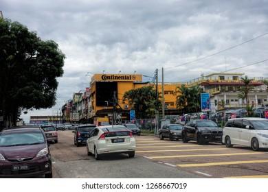JOHOR BAHRU, JOHOR, MALAYSIA - OCTOBER 18, 2018: Street view of Johor Bahru City, Johor, Malaysia.