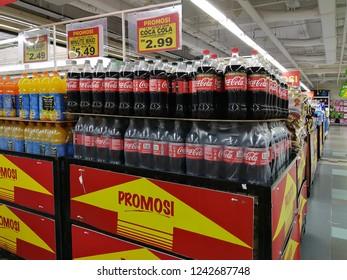 Johor Bahru, Johor, Malaysia. October 20, 2018. Promotion on 1.5 litre Coca-Cola soft drinks at the Giant supermarket.