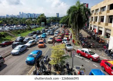 JOHOR BAHRU, JOHOR, MALAYSIA - OCTOBER 20, 2018: Street view of Johor Bahru City, Johor, Malaysia.