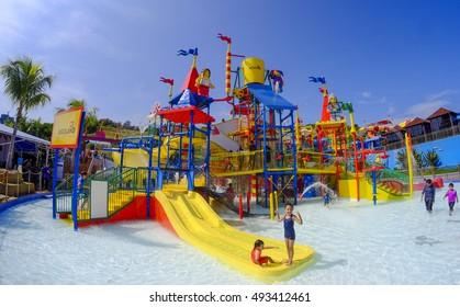 JOHOR BAHRU, MALAYSIA - SEPTEMBER 23, 2016 : Kids having fun at Legoland Water Park.