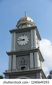 JOHOR BAHRU, JOHOR, MALAYSIA - SEPTEMBER 30, 2018: Day view of City Square Clock Tower in Johor Bahru City, Johor, Malaysia.