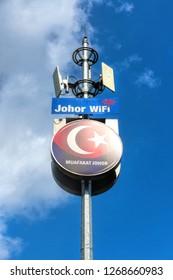 JOHOR BAHRU, MALAYSIA - SEPTEMBER 30, 2018: Day view of Johor Wifi connector pillar against blue sky in Johor Bahru City, Johor, Malaysia.