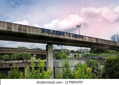 JOHOR BAHRU, JOHOR, MALAYSIA - SEPTEMBER 8, 2018: Street view of Johor Bahru City, Johor, Malaysia.