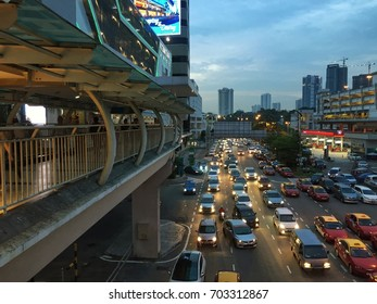 JOHOR BAHRU, MALAYSIA-AUGUST 25 2017:The CIQ building of Johor views from adjacent building with cars congestion on the road