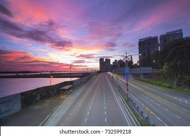 JOHOR BAHRU,JOHOR-OCOTBER 12 2017:The light trail of vehicles on highway at Johor Bahru