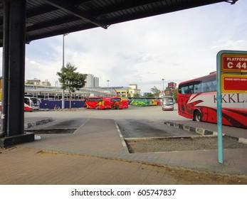 JOHOR BAHRU/MALAYSIA - SEPTEMBER 6 2016: Johor Bahru main bus station (Larkin sentral - bus and taxi terminal). Malaysia