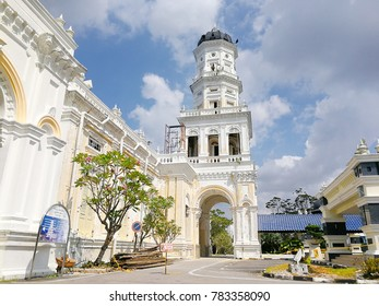 JOHOR BAHRU,MALAYSIA;15 MAY 2017;Sultan Abu Bakar State Mosque Building Front Entrance Against Cloudy Blue Sky in Johor Bahru